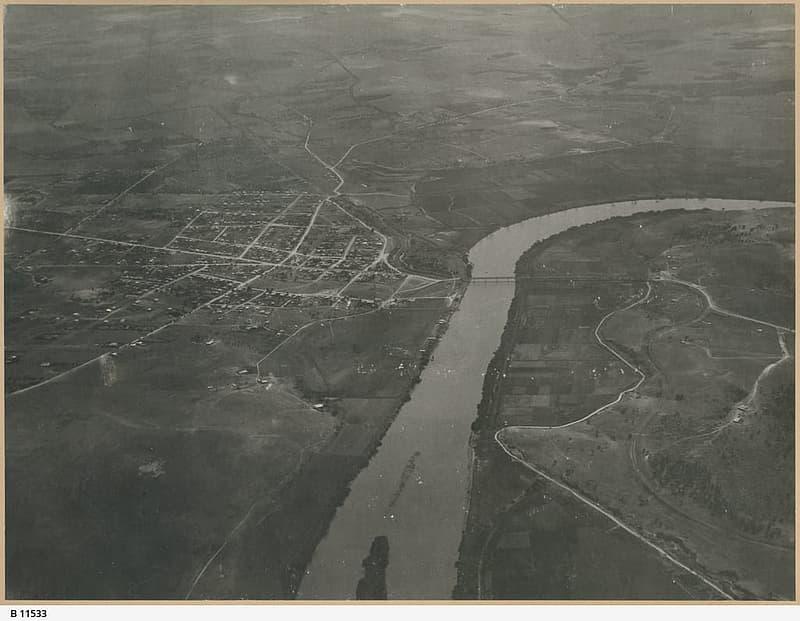 Aerial View of Murray Bridge in 1920, South Australia