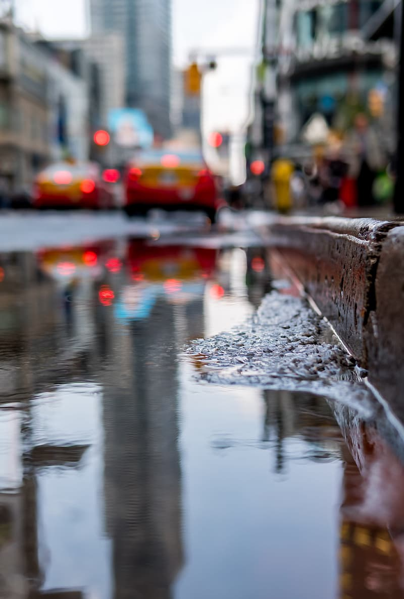 Water puddle near curb