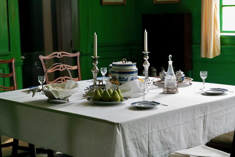 Dining table set up during daytime