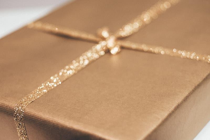 Close-up photo of brown gift box